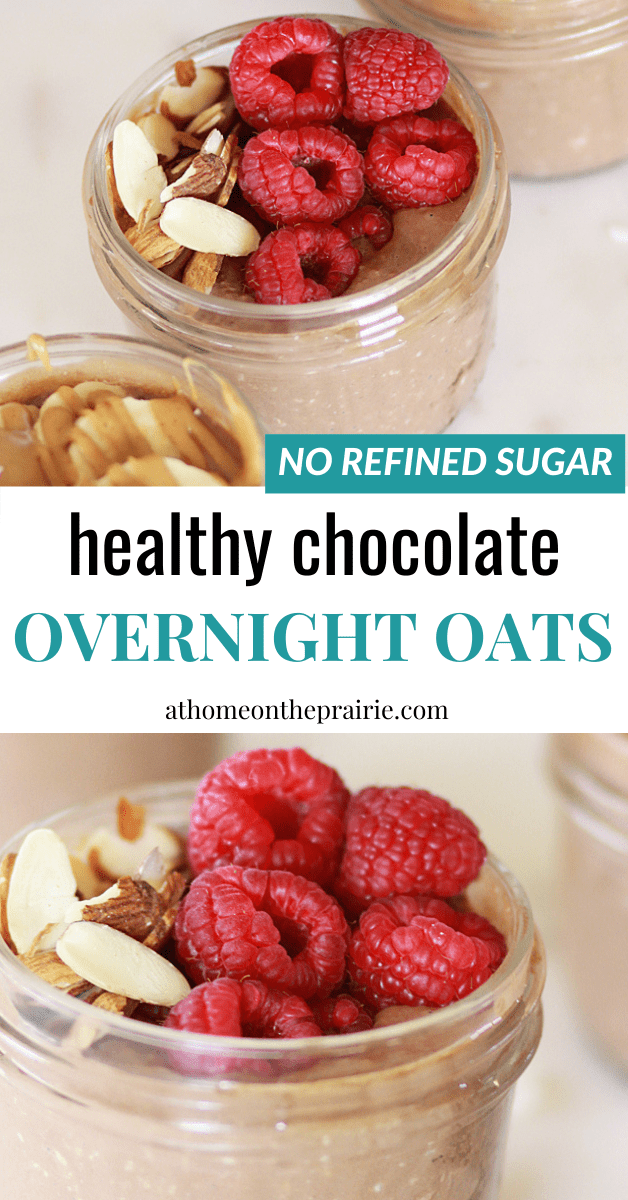 chocolate overnight oats in mason jars topped with raspberries and almonds