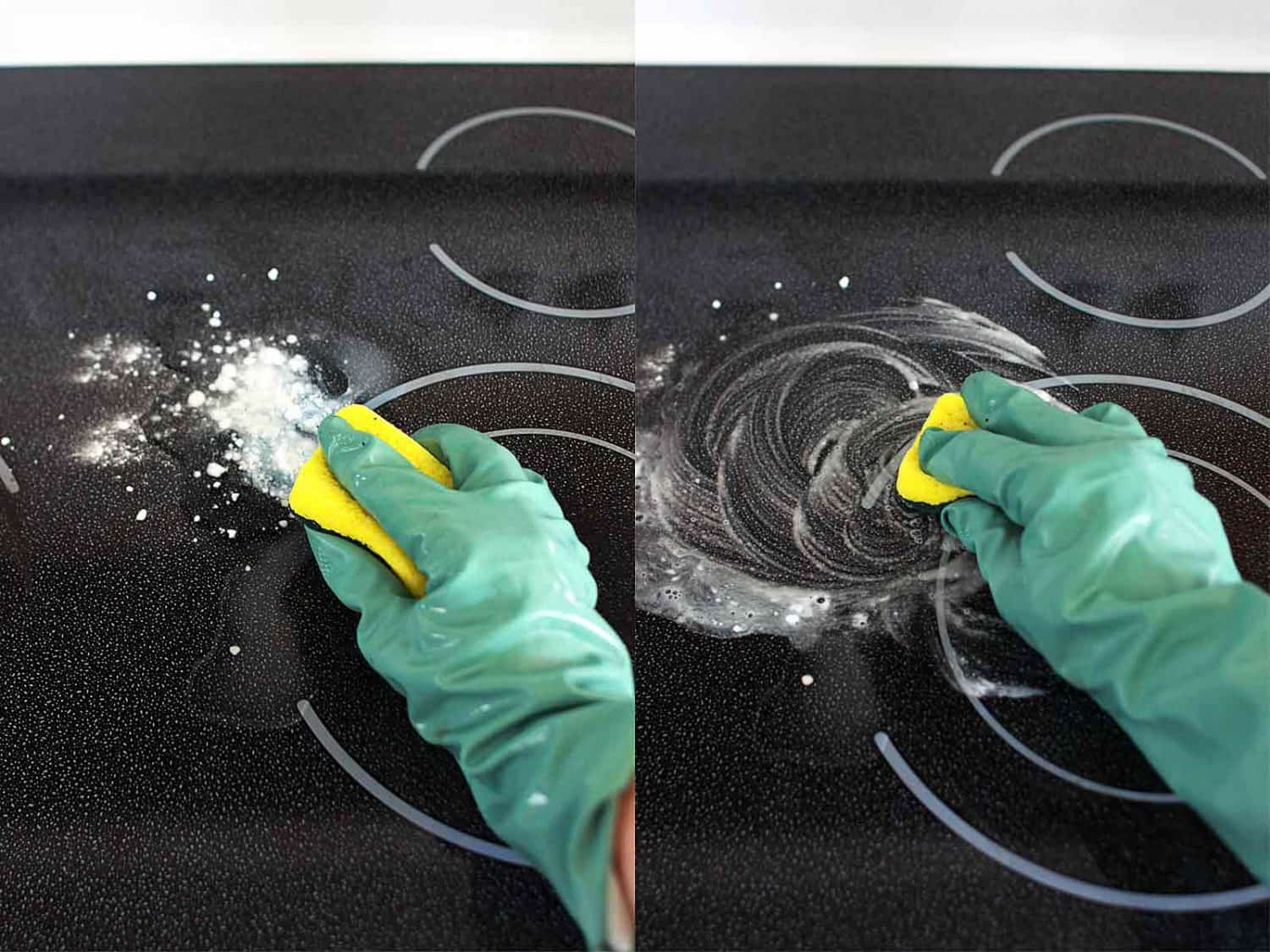 a gloved hand is scrubbing a stovetop.