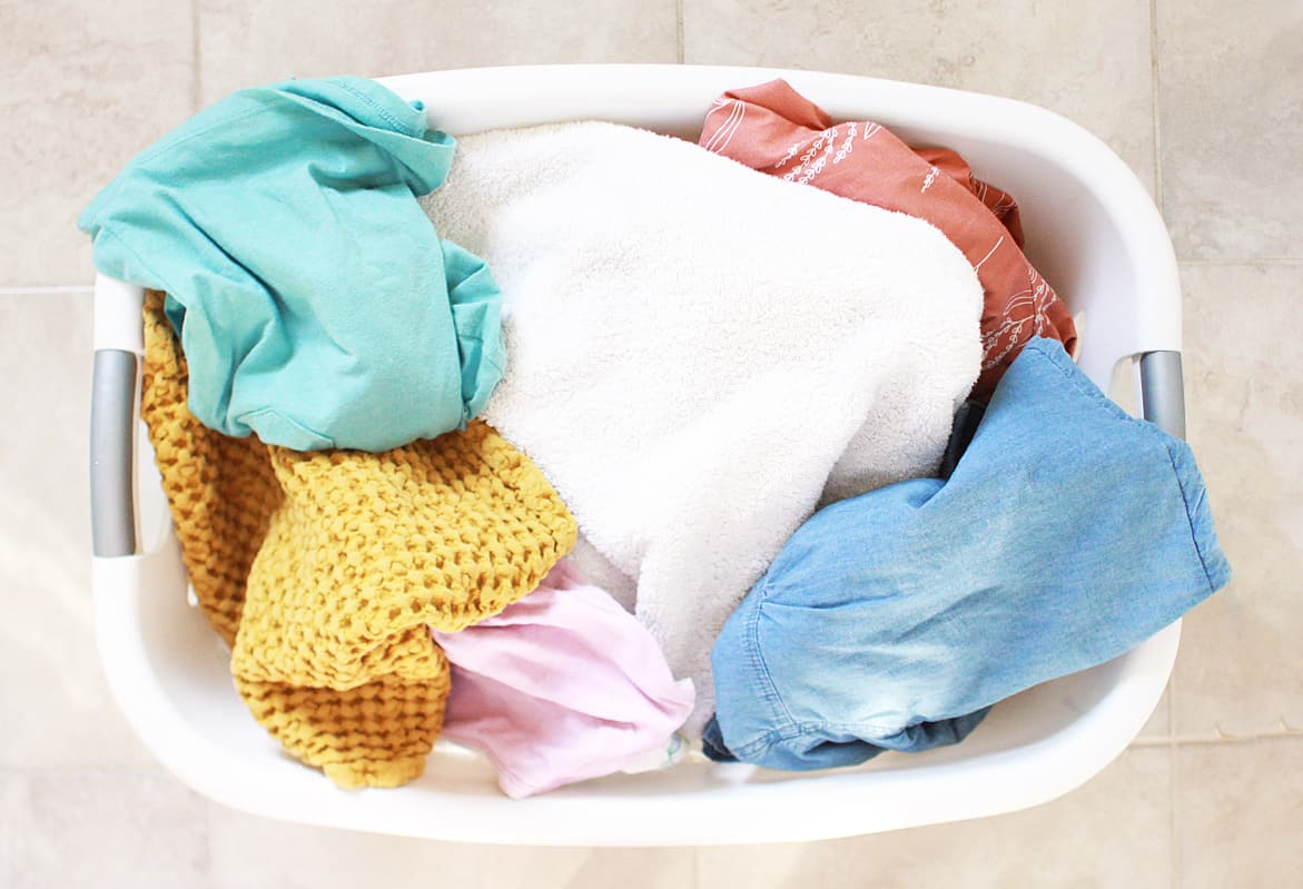 a laundry basket full of clean laundry