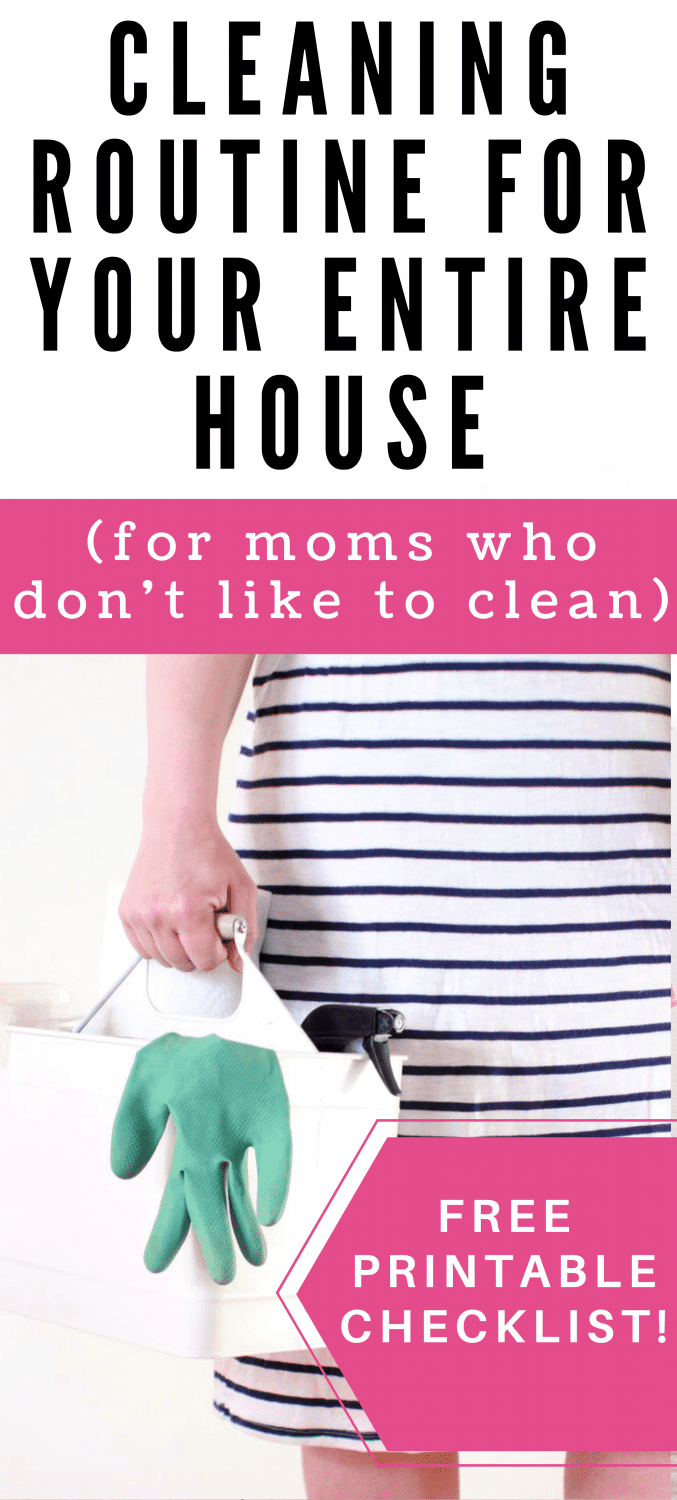 a woman in a dress holding a caddy of cleaning supplies