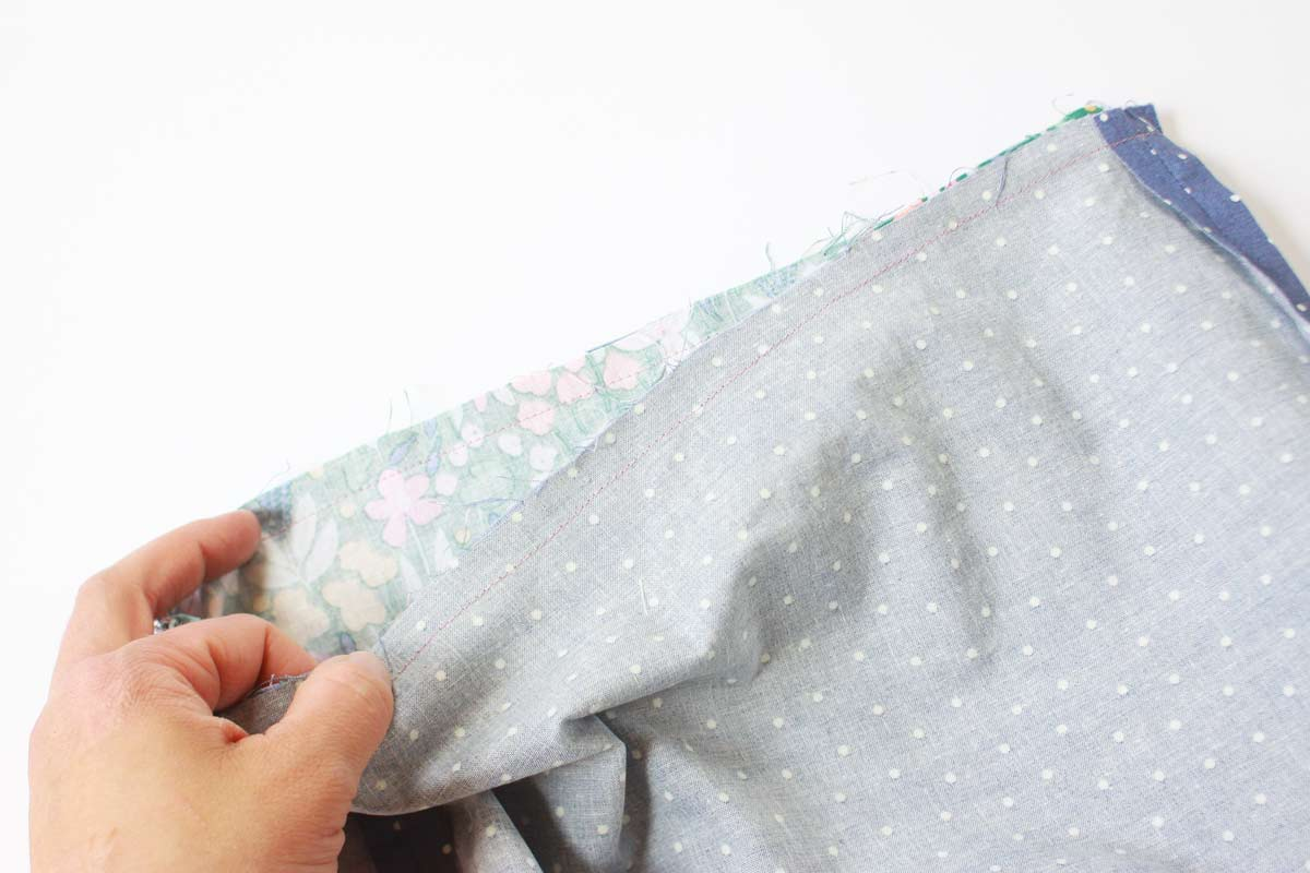 a bag inside out with stitching