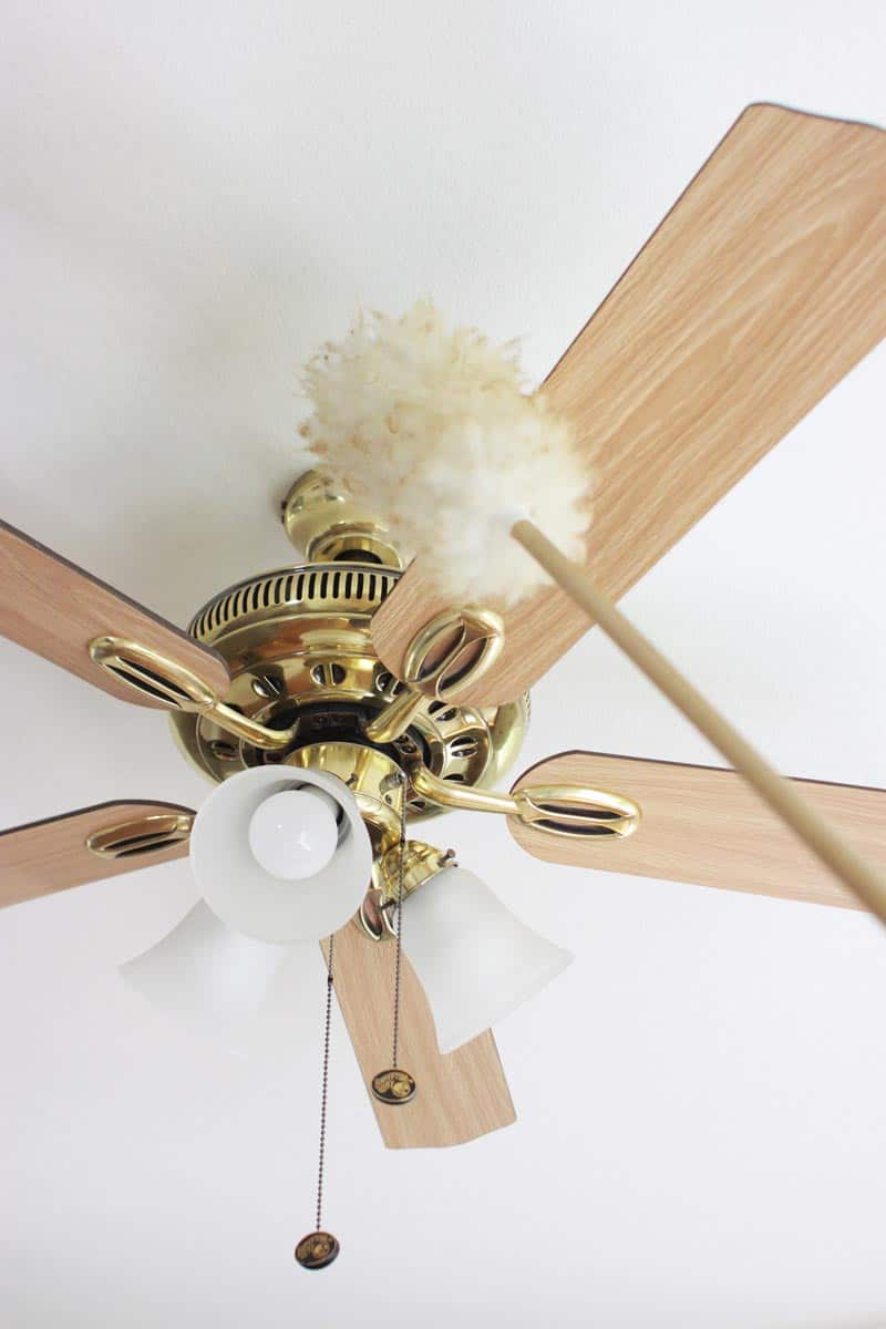 a duster is cleaning a ceiling fan