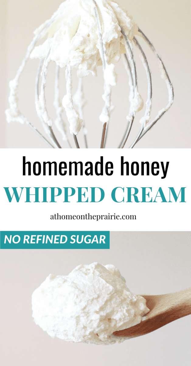homemade honey whipped cream on a whisk and a wooden spoon