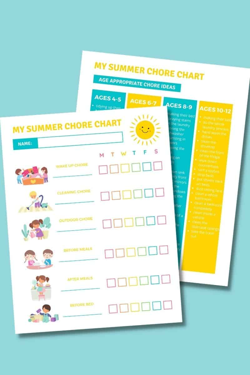 printable Summer chore charts for kids