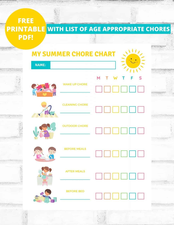 a summer chore chart for kids
