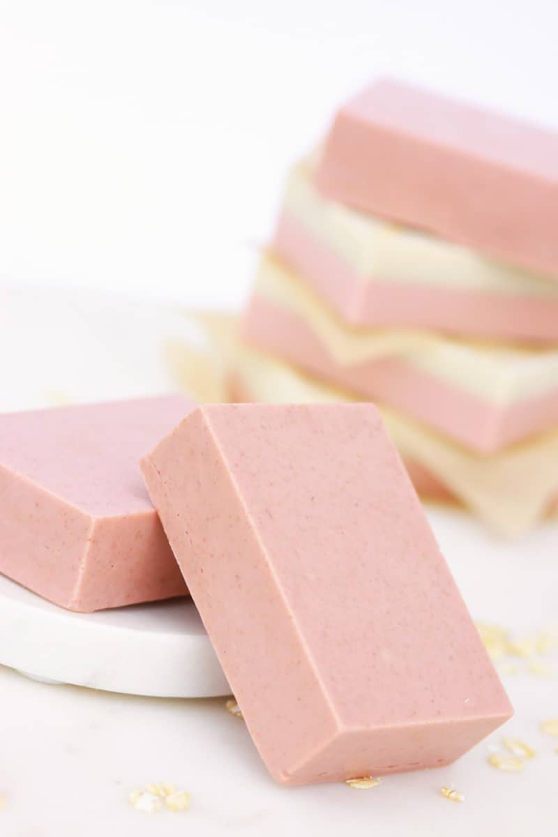 pink and cream soap bars