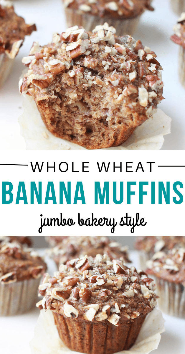 a graphic showing whole wheat jumbo bakery style banana nut muffins