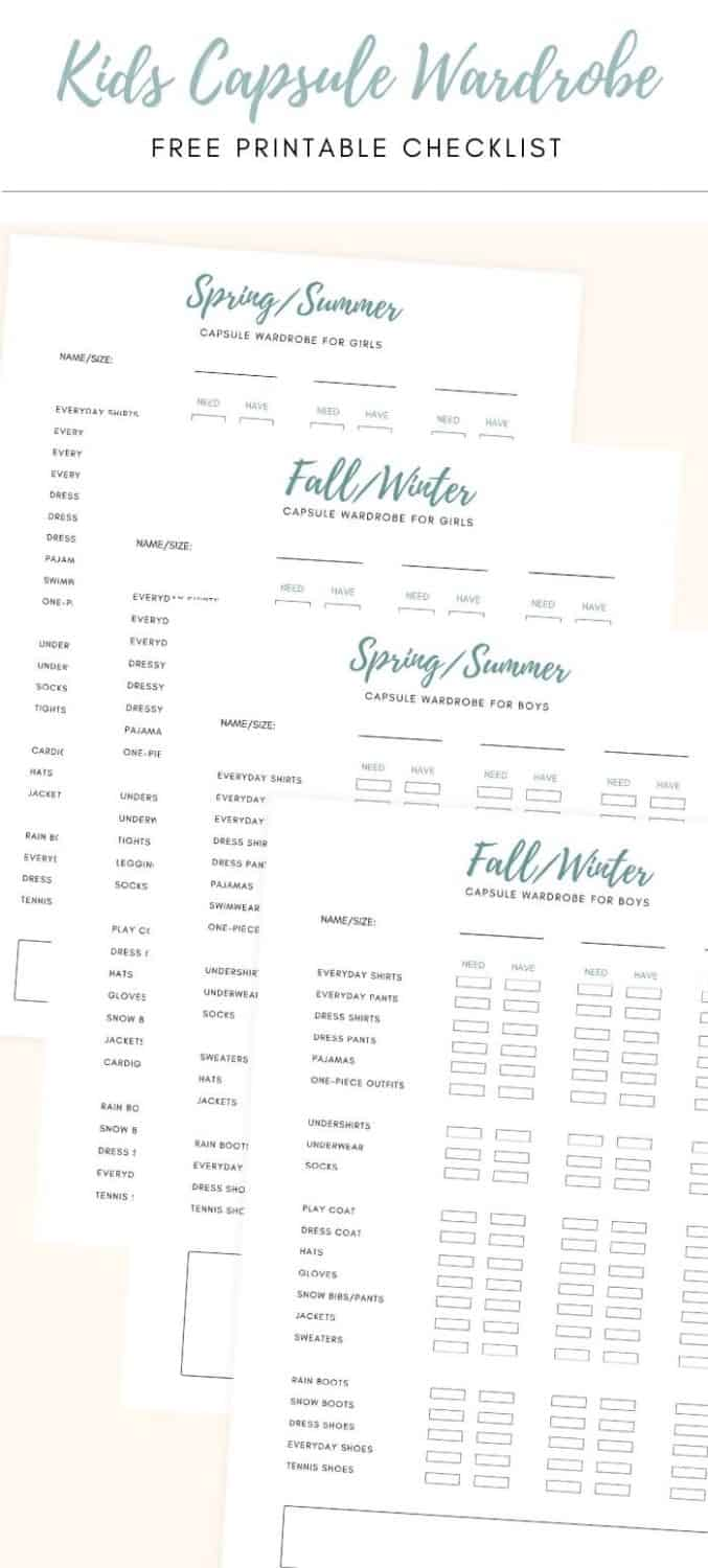 a graphic showing free printable kids capsule wardrobe checklists for each season