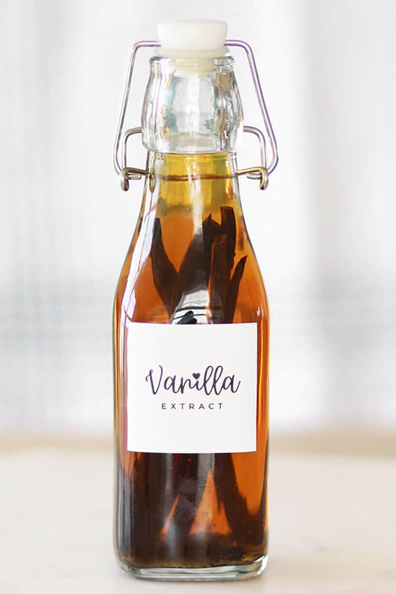 a glass bottle with homemade vanilla extract with a label on the front