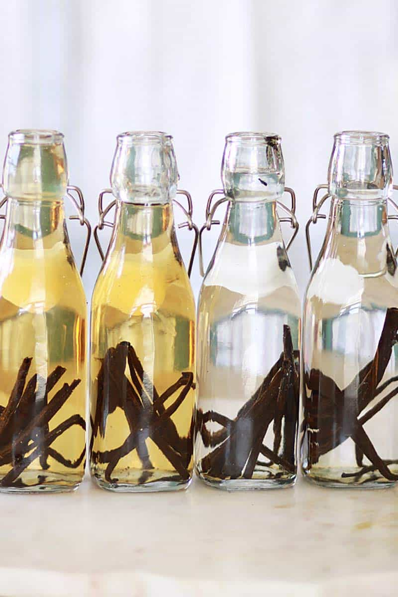 four glass bottles full of halved vanilla beans and vodka and rum
