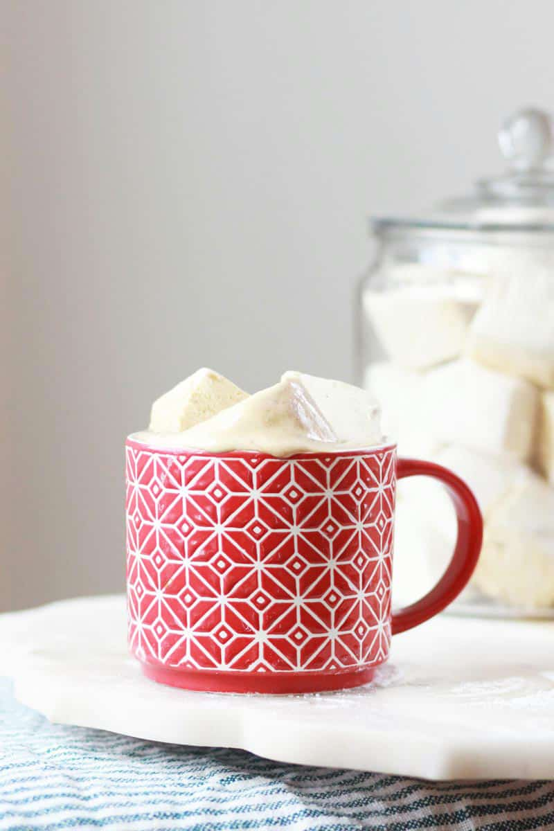 a red mug with giant marshmallows on top of cocoa and a large canister of homemade marshmallows