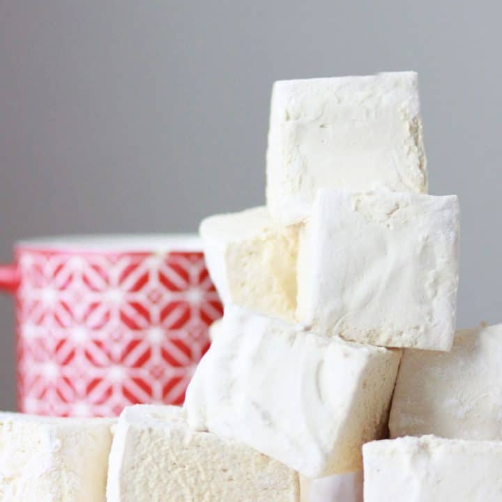 a pile of soft homemade marshmallows