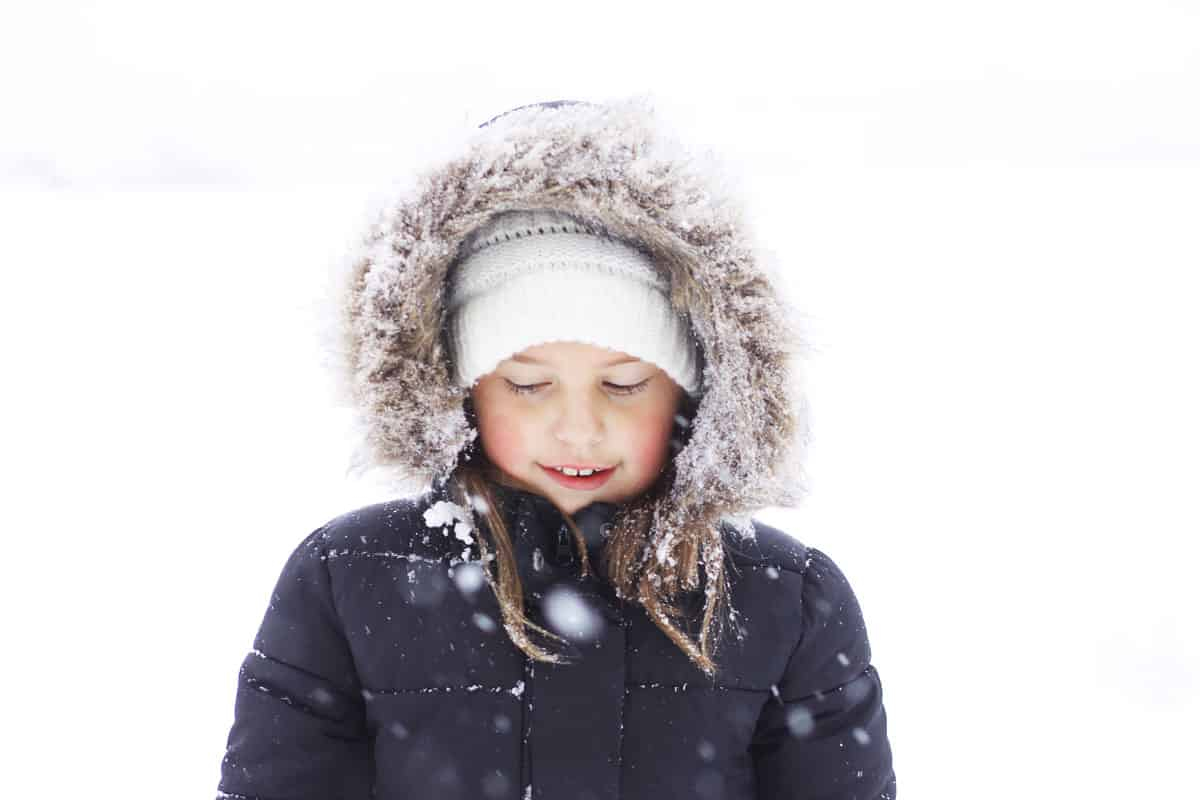 a girl standing in the snow wearing a black coat with a fur hood
