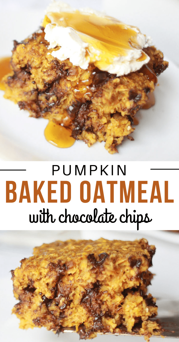 pumpkin baked oatmeal with chocolate chips